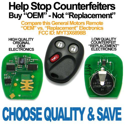 2002-2009 GMC Envoy Keyless Entry Remote Fob Memory #1 (FCC: MYT3X6898B, P/N: 15008008, 15051014)
